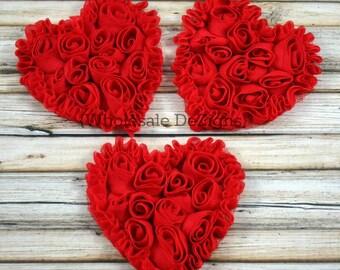 """3 Red Shabby Rosette Heart - 3"""" Valentines"""