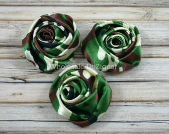 "Camo Satin Rolled Rosette Flowers - 2"" - Set of 3 - Camouflage"