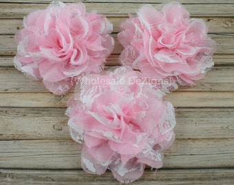 Pink and White Chiffon and Lace Flower - 4 inches - Light Pink & White