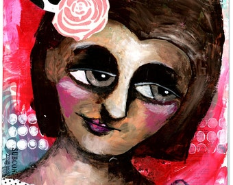 Girl with Polka Dots, Rose in Hair, Mixed Media Original Painting, 8x10 inches, Every Rose Has Its Thorn