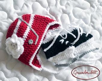 BABY GIRL HOCKEY Red White Hockey Stick Hat, Baby Hockey Skates, Newborn Hockey Hat, Knit Baby Hockey, Crochet Hockey Baby, Hockey Girl Gift