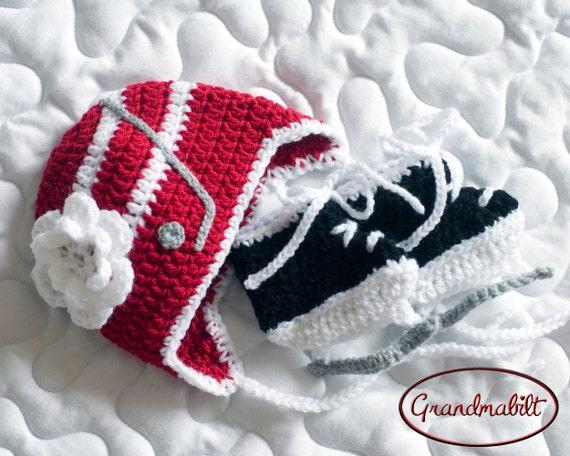 BABY GIRL HOCKEY Red White Hockey Stick Hat Baby Hockey