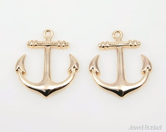 Big Anchor Charm in Gold - 2pcs Gold Anchor Pendant / 23mm x 18.5mm / BG111-P