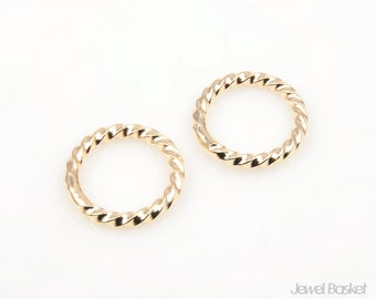 Gold Twisted Ring - soldered ring / 15 mm / BG132-P (4pcs)