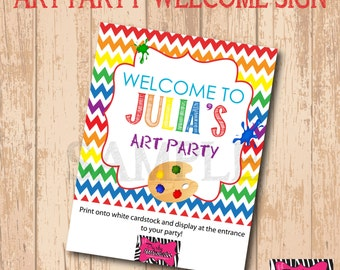 DIY Printable Art Party Welcome Sign