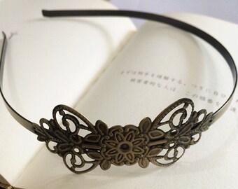2pcs 69x31mm Floral headband  Antique Bronze Filigree metal Headband
