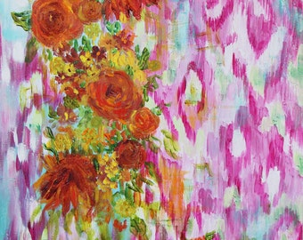 """CLEARANCE Abstract Flower Painting, Orange Dahlias on Pink Ikat, GICLEE PRINT, """"Dahlia"""" by Carolyn Shultz"""