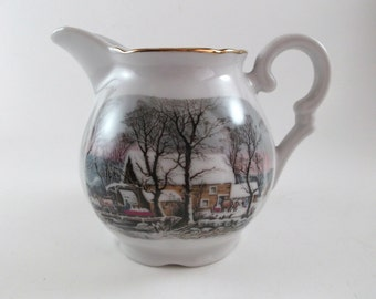 Vintage Creamer Avon 1977 Collectible Porcelain Creamer Winter Scene Holiday Home Decoration Christmas Table Decor Kitchenware Dinnerware