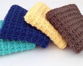 Hand Knit Dish Cotton Cloths Set of 4
