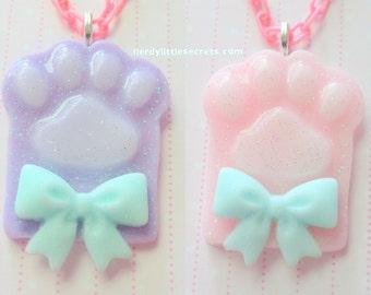 Pastel Kitten Cat Paw Fairy Kei Necklace
