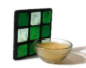 Green Mosaic Candle Stand, Green Stained Glass Mosaic Candle Coaster - Includes FREE Scented Candle