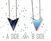 Reversible Arrow Necklace, Galaxy / Jewel-tone Ombre