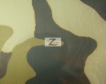 "Army Camouflage Power Mesh Spandex Fabric - BROWN/TAN/BLACK - Sold By The Yard 58""/60"" Width"