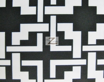"Digital Maze Puzzle Waterproof Outdoor Fabric - BLACK/WHITE - 54/56"" Width Sold By The Yard Anti-UV Canvas"