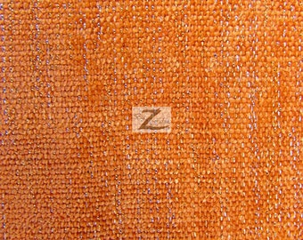"""Sparkle Chenille Upholstery Fabric - ORANGE - 57"""" Width Sold By The Yard"""