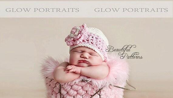 Crochet Hat PATTERN Newborn Photo Prop V Stitch Flower Hat Flapper Beanie Hat PDF 130 Newborn Baby to Preteen Photo Prop Instant Download