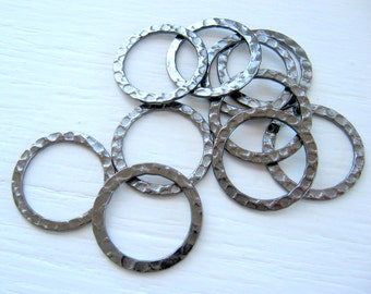 Hammered Gunmetal Rings 20mm Black Hoops Round Circles Silver Plated Gun metal Links Findings Wholesale Jewelry Supply CrazyCoolStuff