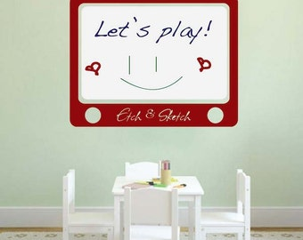 Etch and Sketch Dry Erase Wall Decal - Dry Erase Decals - Removable Whiteboard Wall Decal Sticker - Kids Wall Art Decals - Writable, s50