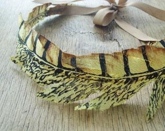 Golden Crown Feather Boho Headpiece Bridesmaid Hair Accessories Rustic Head Wreath Greek Goddess Headband