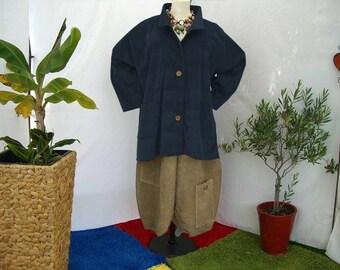 Plus sizes - US 18 - 34, UK 20 - 36 Layered-look fantastic plus size jacket, corduroy, dark blue