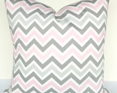 BABY PILLOW Covers Pink Decorative Throw Pillows Gray Baby Pink Chevron Pillows 16 18 20x20 Grey baby Girl Nursery Bedding .All Sizes.