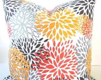 ORANGE OUTDOOR PILLOW Cover Orange Decorative Pillows Indoor/Outdoor Gray Pillow Covers 16x16 18 20 Coral Yellow  Floral Home decor