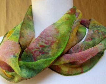 Silk scarf Chiffon Hand Painted Accessory. Multi color pastel shawl shawl wrap. Made in the Hudson Valley. Unique gift woman OOAK