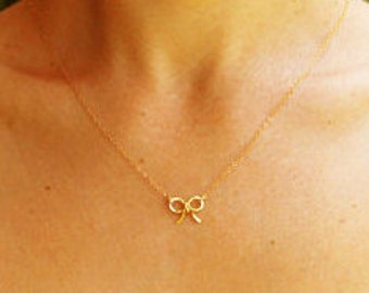 Gold necklace, bow tie necklace, silver bow necklace, tiny charm necklace, everyday gold necklace, simple bow necklace, gold charm necklace