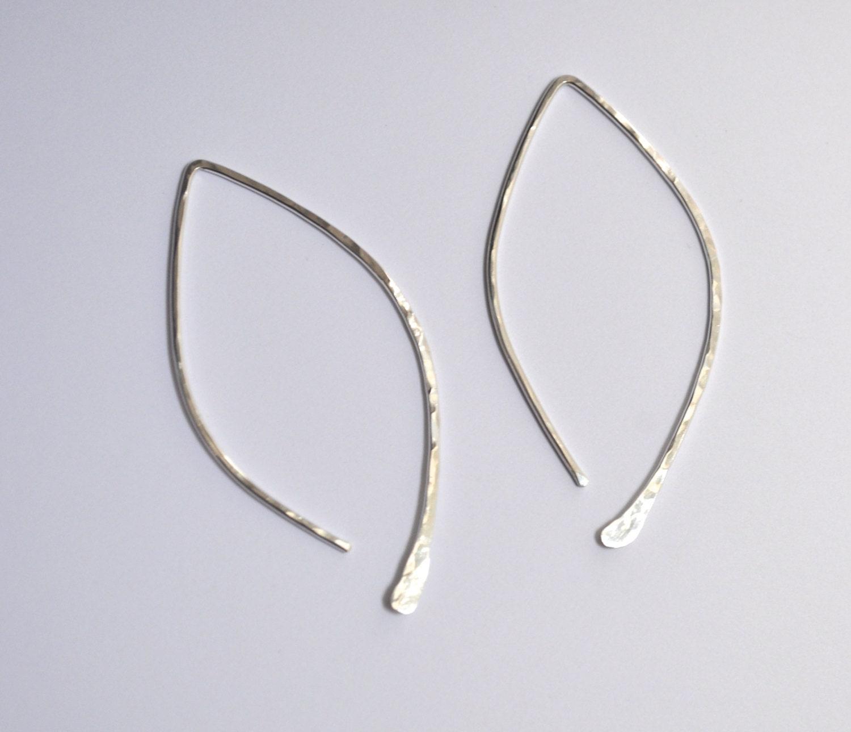 Silhouette Earrings: Hammered Leaf Silhouette Earrings Gold By TeressaLaneJewelry