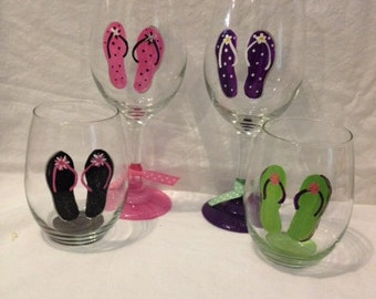 Hand Painted Flip Flop Wine Glass