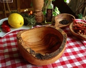 Olive wood bowl with rustic edges (bark rest)