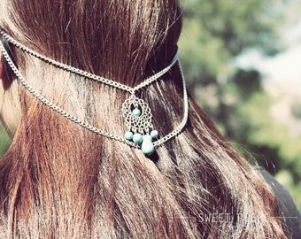Silver and Turquoise Double Ear Cuff Set