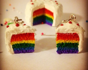 Polymer Clay Realistic Rainbow Cake Earrings With Frosting