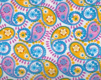 Paisley fabric - yellow blue purple pink white - AE Nathan  - by the YARD