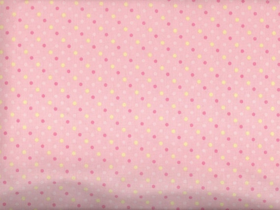pink dots fabric tonal pink yellow polka dots by fabricfrantic. Black Bedroom Furniture Sets. Home Design Ideas