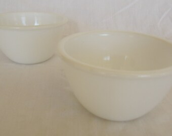 Vintage Milk Glass Small Cereal Bowl Pair