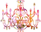 "Pink Chandelier Watercolor 11""x14"" Art Print"