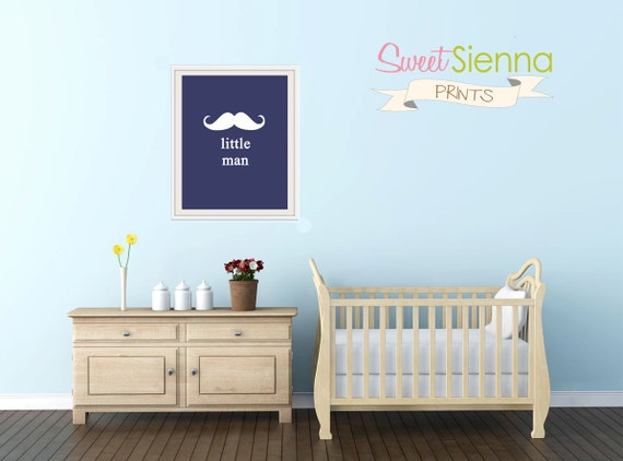 "Moustache Nursery Print ""little man"" Nursery decor, baby nursery art. Nursery Wall art, silhouette - typographic print, 8x10"" PDF"
