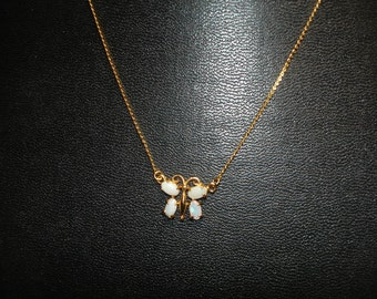 Milk Opal butterfly Necklace  Gold Tone chain