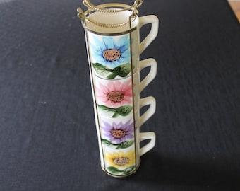 Vintage Mid Century Floral Coffee Mugs Gold Metal Stand Japan