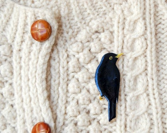 Hand drawn Blackbird brooch, bird brooch, bird jewellery, bird pin, bird lovers