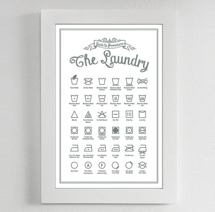 laundry symbols poster print guide to procedures laundry. Black Bedroom Furniture Sets. Home Design Ideas