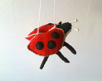Nursery Decor Ladybug Crib Mobile Organic Baby Toy
