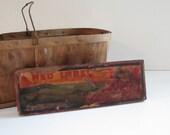 Wooden Crate Label - Original Grape Produce Crate End for Rustic Decor