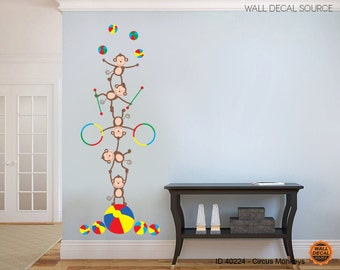 Nursery Monkey Pile Vinyl Stickers - Playful Colorful Monkeys Wall Decals