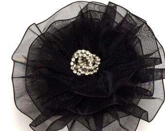 Black Magnetic Brooch,  Black Flower Magnetic Scarf Pin, Rhinestone Brooch