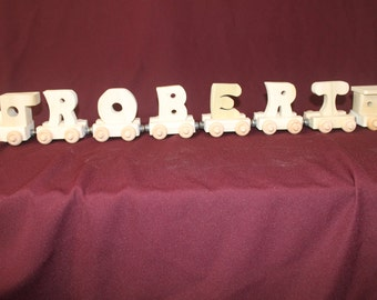 6 letter child's handcrafted, personalized wood name train