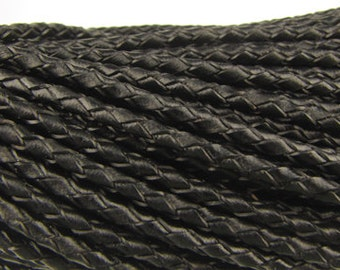2.5mm round Black braided leather cord, 3 feet