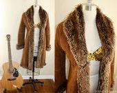 SALE Soft Fur Lined Long Suede Coat