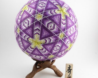 "Japanese Temari Ball - Yuki, Snowflake, Design (Purple, 4 7/8"")"